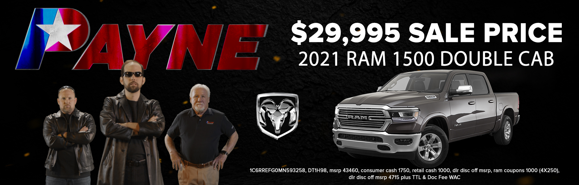 Get a 2021 RAM 1500 Double Cab for $29.995