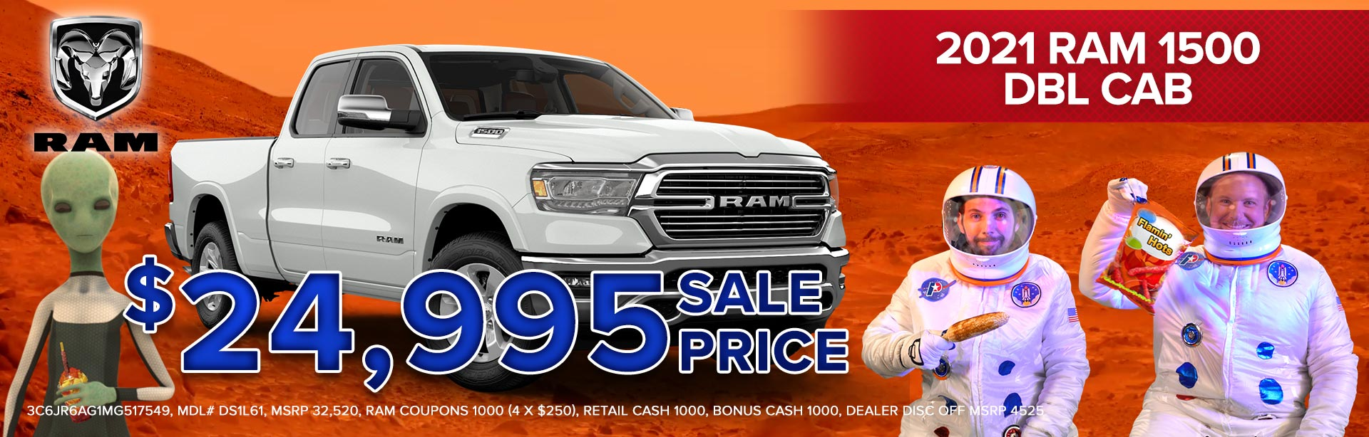 Get a 2021 RAM 1500 DBL Cab for $24,995!