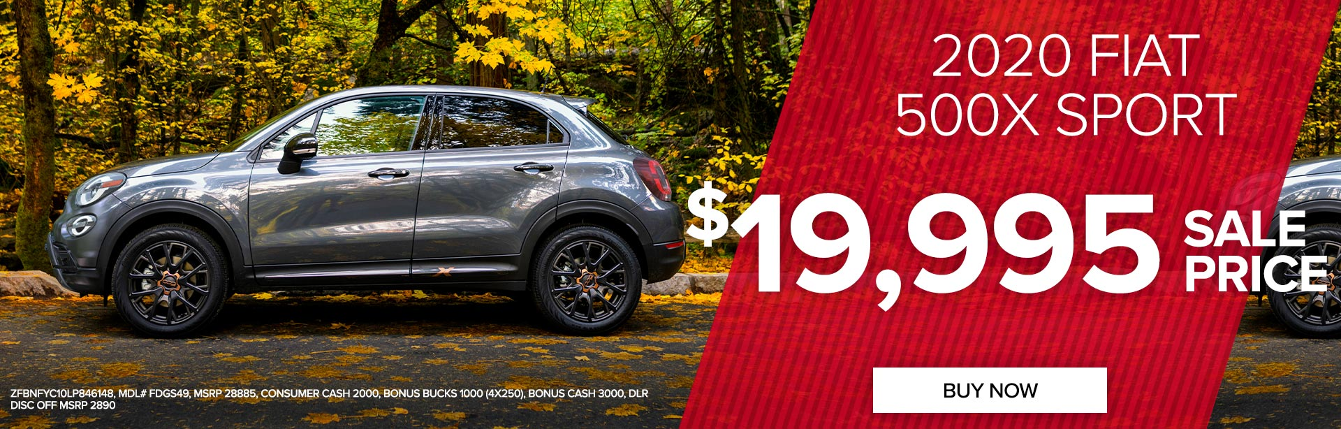 Get a 2020 FIAT 500X Sport for $19,995