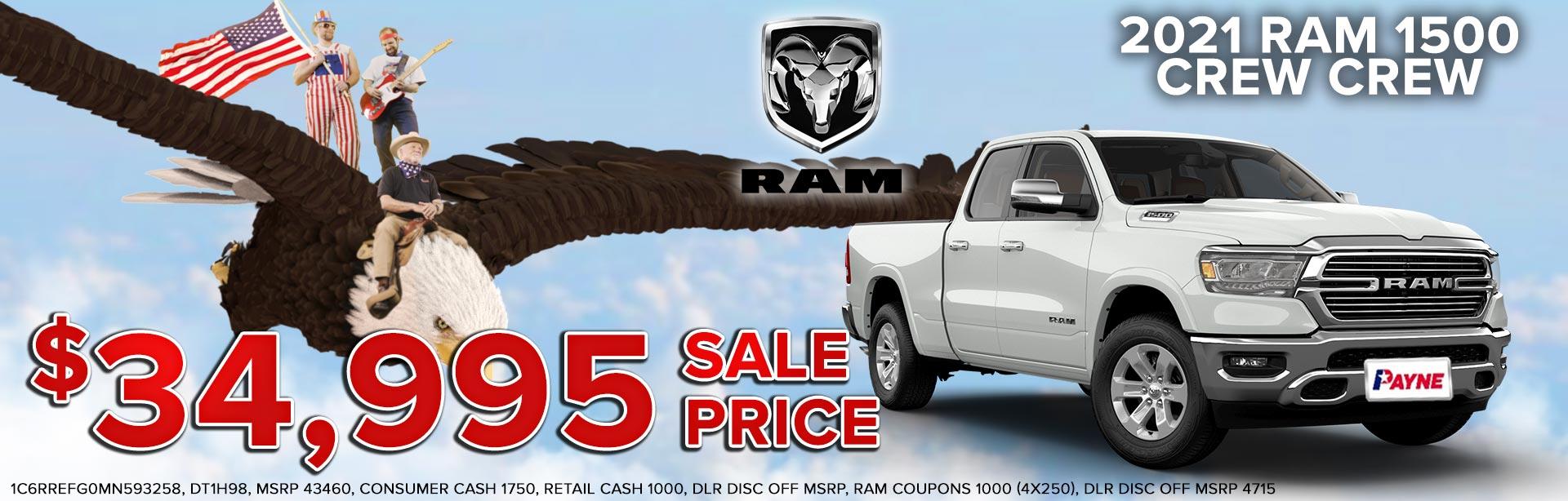 Get a 2021 RAM 1500 Crew Cab for $34,995!