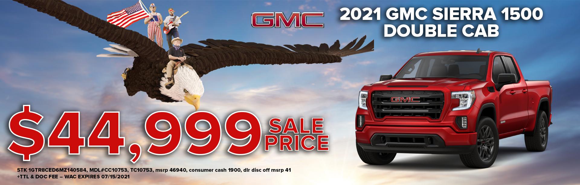 get a 2021 gmc sierra 1500 for $44,999