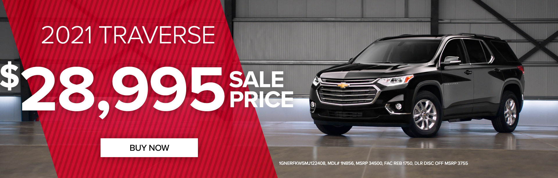 Get a 2021 Chevy Traverse for only $28,995