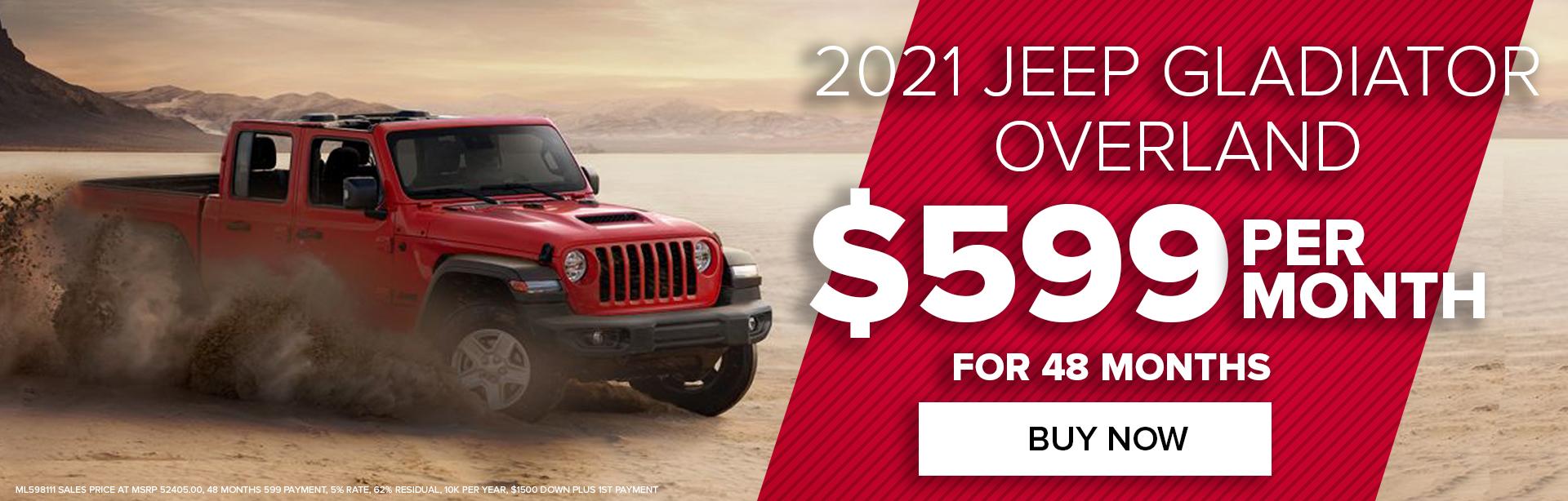 Get a Jeep Gladiator Overland For $599 Per Month For 48 Months Payne Edinburg CDJR  Edinburg, TX