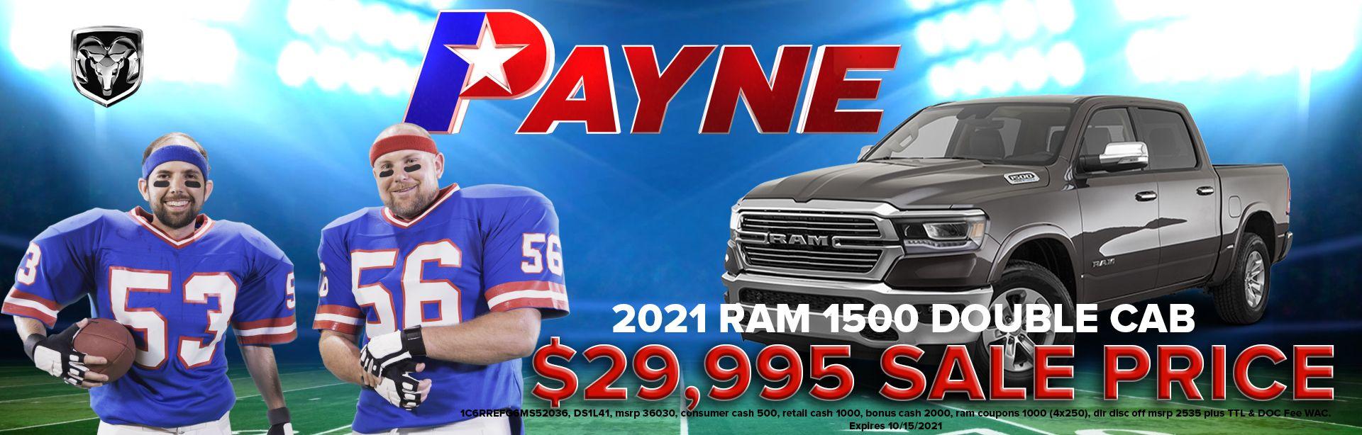 Get A 2021 RAM 1500 Double Cab for 29,995  Payne Edinburg CDJR  Edinburg, TX